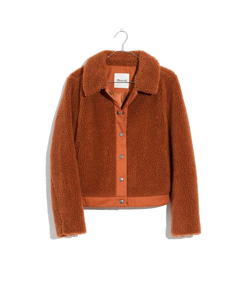 "<p>Sherpa Portland Jacket, $150, <a rel=""nofollow"" href=""https://fave.co/2Ox2sju"">madewell.com</a> </p>"