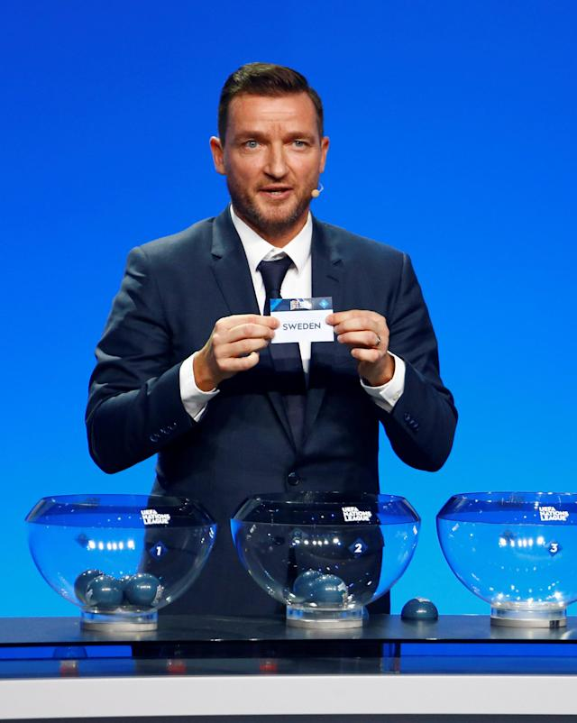 Soccer Football - UEFA Nations League Group Draw - Lausanne, Switzerland - January 24, 2018 Vladimir Smicer draws Sweden in group 2, league B REUTERS/Pierre Albouy