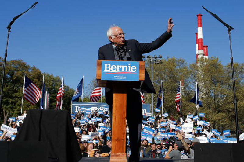 Democratic presidential candidate Sen. Bernie Sanders, I-Vt., speaks to supporters during a campaign rally on Saturday, Oct. 19, 2019 in New York. (AP Photo/Eduardo Munoz Alvarez)