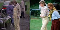 <p><em>The Crown </em>chose to replicate a very important Princess Diana outfit early on in season 4. Diana opted to wear a pair of pale yellow dungarees with a pastel floral button down to accompany her friend (and future sister-in-law) Sarah Ferguson to a polo match in 1981. However, the television show did get one thing wrong– in 1981 Diana and Charles were already an item. In fact, Diana was there to watch Prince Charles and was even driven home in his convertible that afternoon. </p>