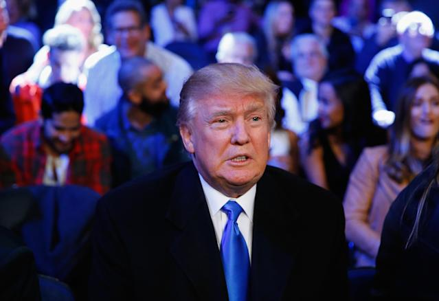 Then-Presidential candidate Donald Trump attends the fight between Gennady Golovkin against David Lemieux for their WBA/WBC interim/IBF middleweight title unification bout at Madison Square Garden on Oct. 17, 2015 in New York City. He may make a return visit to watch UFC 244 on Saturday. (Getty Images)