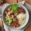 """<p>This chipotle-flavored burrito bowl recipe is even better than takeout and just as fast. Loading it with vegetables and using quinoa in place of rice adds nutrition for a healthy dinner. <a href=""""https://www.eatingwell.com/recipe/254609/chipotle-chicken-quinoa-burrito-bowl/"""" rel=""""nofollow noopener"""" target=""""_blank"""" data-ylk=""""slk:View Recipe"""" class=""""link rapid-noclick-resp"""">View Recipe</a></p>"""