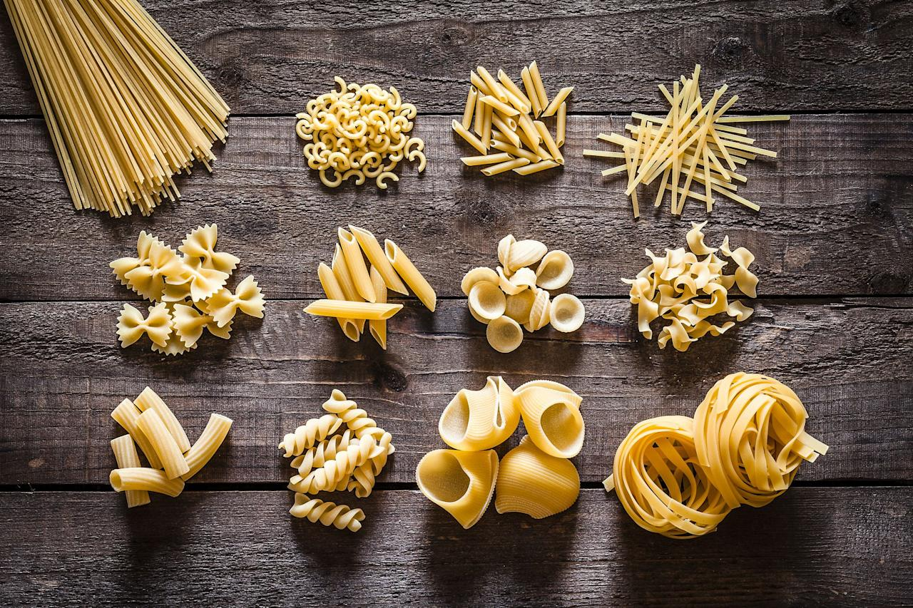 """<p>Whether it's freshly made or from a box, pasta is one of the simplest—and most beloved—dishes to prepare at home. From stuffed shells and spaghetti and meatballs to fettuccine Alfredo and potato gnocchi, there are countless recipes that feature pasta as their main ingredient. This carbohydrate-rich food is traditionally made from simple ingredients, including wheat, water, and eggs, and then molded into different shapes before being cooked in boiling water. Thanks to the <a href=""""https://www.countryliving.com/food-drinks/g4020/low-carb-recipes/"""">low-carb</a> and gluten-free movements in the U.S., there are now a variety of """"alternative"""" pastas made from protein-packed lentils, chickpeas, or quinoa. Many of these are offered in classic shapes like rotini, penne, or fusilli, so you can try more health-conscious versions of time-honored <a href=""""https://www.countryliving.com/food-drinks/g1487/pasta-recipes/"""">pasta recipes</a>. (Check out our favorite <a href=""""https://www.countryliving.com/food-drinks/g3241/healthy-pasta-recipes/"""">healthy pasta recipes</a> here!) </p><p>But despite how pervasive pasta is in kitchens and restaurants across America, you might see a word like """"bucatini"""" or """"pappardelle"""" on a menu and find yourself either completely stumped or racking your brain to recall the shape of that particular noodle. That's why we've rounded up some of the most common Italian types of pasta to give you a crash course on one of the world's most delicious, popular foods. Plus, check out our corresponding recipes for delicious twists on all your favorite traditional pasta dishes! (Don't miss these <a href=""""https://www.countryliving.com/food-drinks/g4402/summer-pasta-recipes/"""">summer pasta recipes</a> and <a href=""""https://www.countryliving.com/food-drinks/g2365/pasta-salad-recipes/"""">pasta salad recipes</a> too.)</p>"""