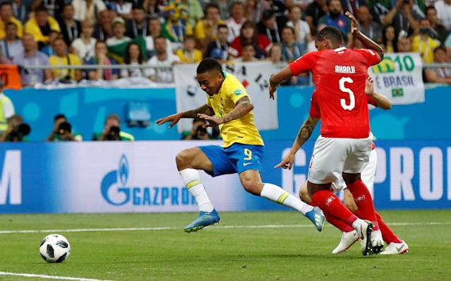 Soccer Football - World Cup - Group E - Brazil vs Switzerland - Rostov Arena, Rostov-on-Don, Russia - June 17, 2018 Brazil's Gabriel Jesus goes down in the penalty area under the challenge of Switzerland's Manuel Akanji REUTERS/Damir Sagolj TPX IMAGES OF THE DAY