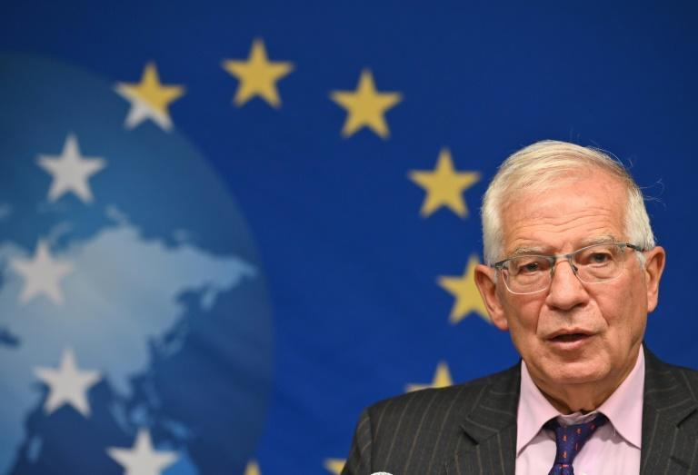 EU foreign policy chief Josep Borrell, speaking to reporters at the United Nations, will press Iran to return to talks (AFP/Angela Weiss)