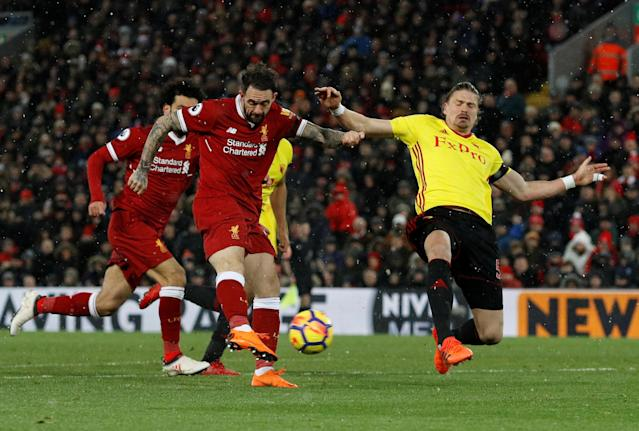 "Soccer Football - Premier League - Liverpool vs Watford - Anfield, Liverpool, Britain - March 17, 2018 Liverpool's Danny Ings shoots at goal REUTERS/Phil Noble EDITORIAL USE ONLY. No use with unauthorized audio, video, data, fixture lists, club/league logos or ""live"" services. Online in-match use limited to 75 images, no video emulation. No use in betting, games or single club/league/player publications. Please contact your account representative for further details."
