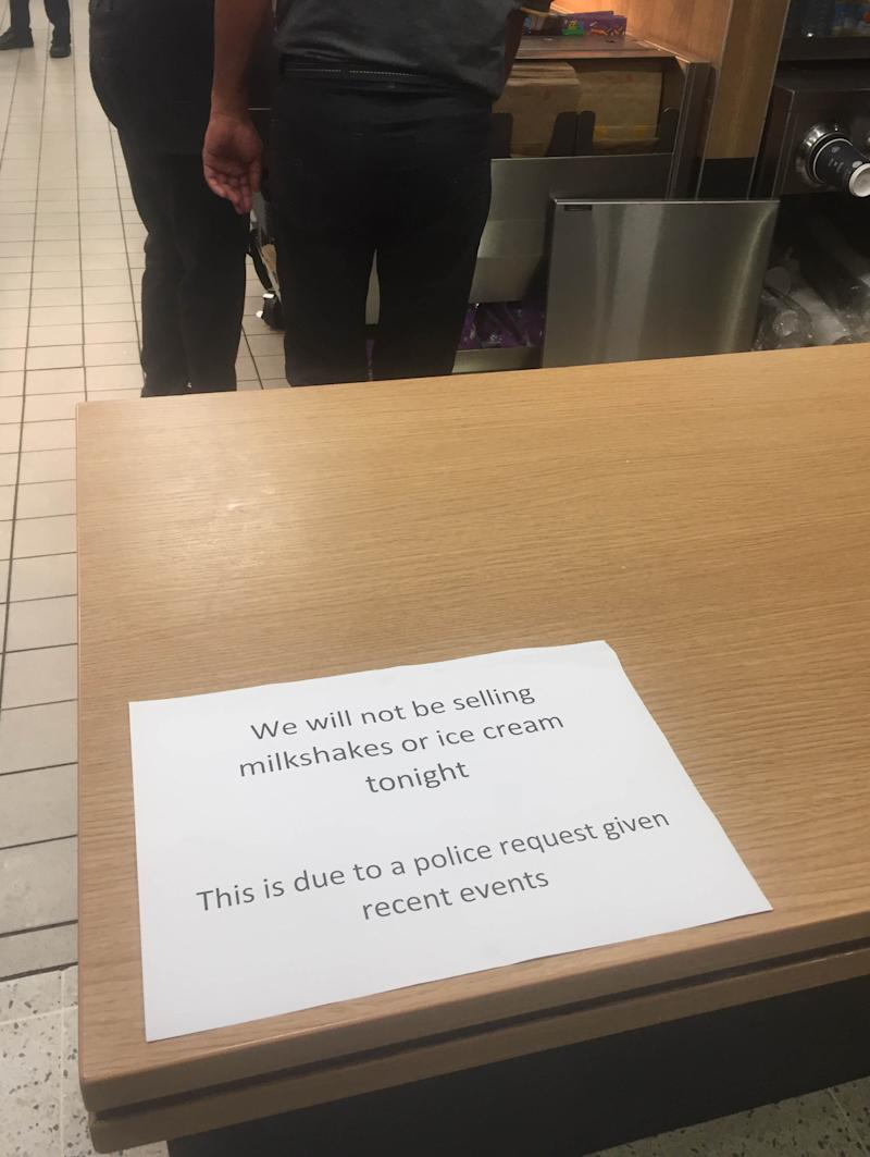 Sign in a McDonalds restaurant in Edinburgh after a police request not sell milkshakes or ice cream near a Brexit Party rally with Nigel Farage.