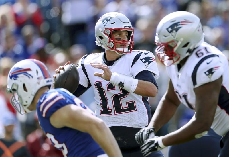 New England Patriots quarterback Tom Brady faces the Bills again on Saturday. (AP Photo/Ron Schwane)