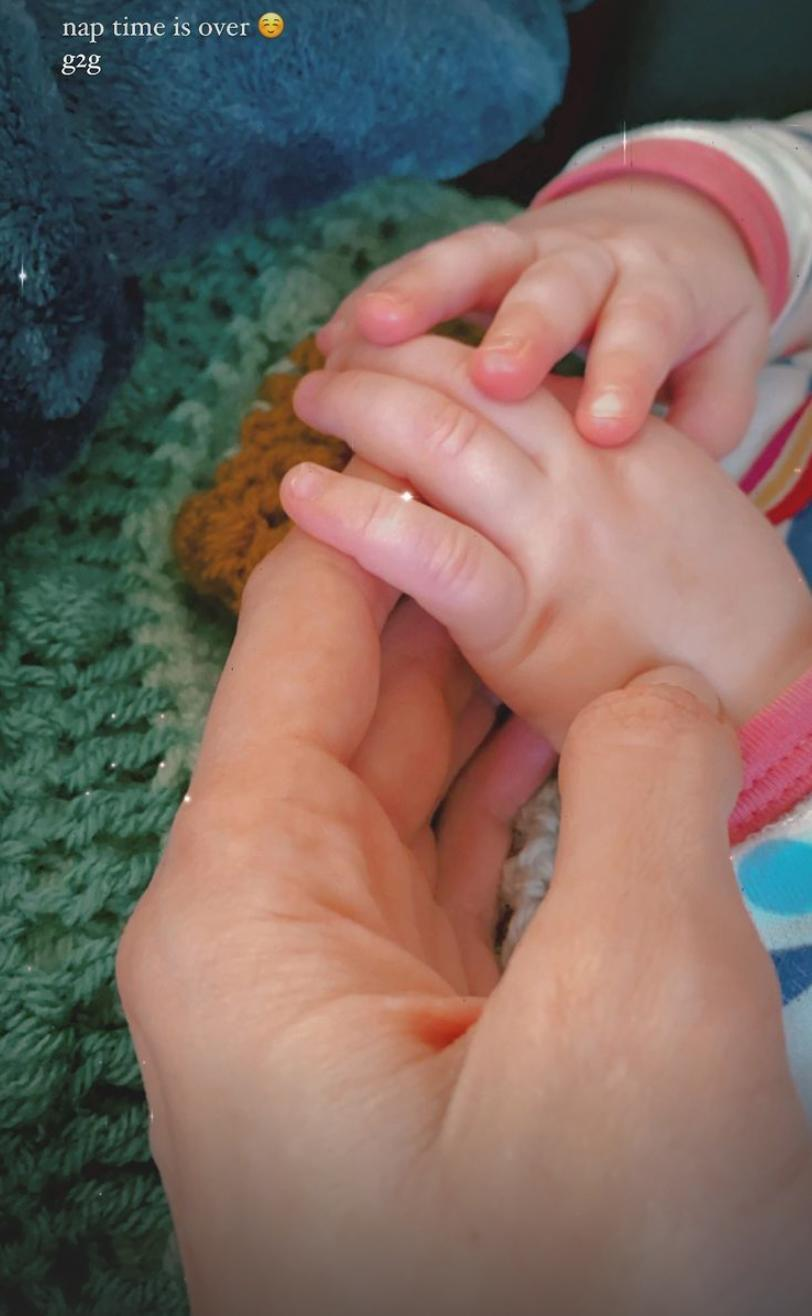 <p>Hadid shared a sweet shot of Khai holding onto her hand after nap time on Instagram Story. </p>