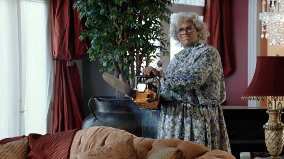 """<p>In 2005, Tyler Perry (as the instant icon Madea) <a href=""""https://www.britannica.com/biography/Tyler-Perry"""" rel=""""nofollow noopener"""" target=""""_blank"""" data-ylk=""""slk:debuted"""" class=""""link rapid-noclick-resp"""">debuted </a>in <em>Diary of a Mad Black Woman</em>. The film, directed by Perry, was a huge success. It led to a franchise of films featuring Perry as the incomparable grandmother. </p>"""