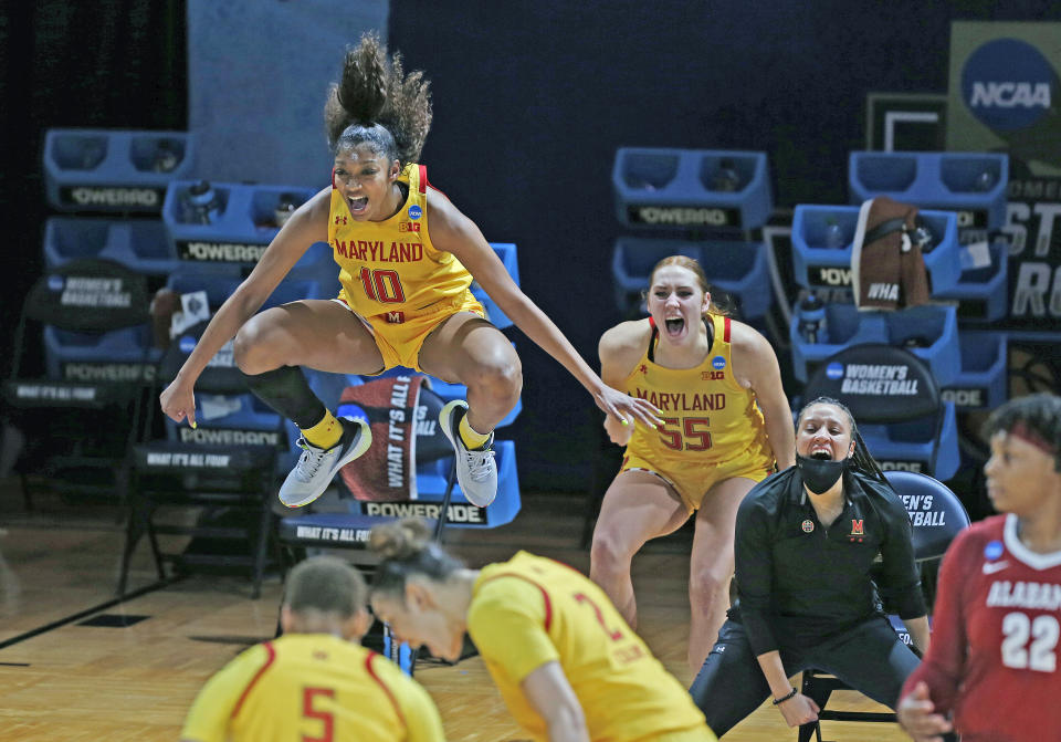Maryland forward Angel Reese (10) celebrates a basket during the second half of a college basketball game against Alabama in the second round of the women's NCAA tournament at the Greehey Arena in San Antonio on Wednesday, March 24, 2021. Maryland defeated Alabama 100-64. (AP Photo/Ronald Cortes)