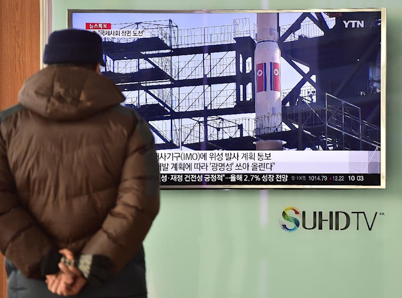 A TV broadcasts file footage of North Korea's Unha-3 rocket launch in 2012 during a news report on North Korea's planned rocket launch, in Seoul on February 3, 2016
