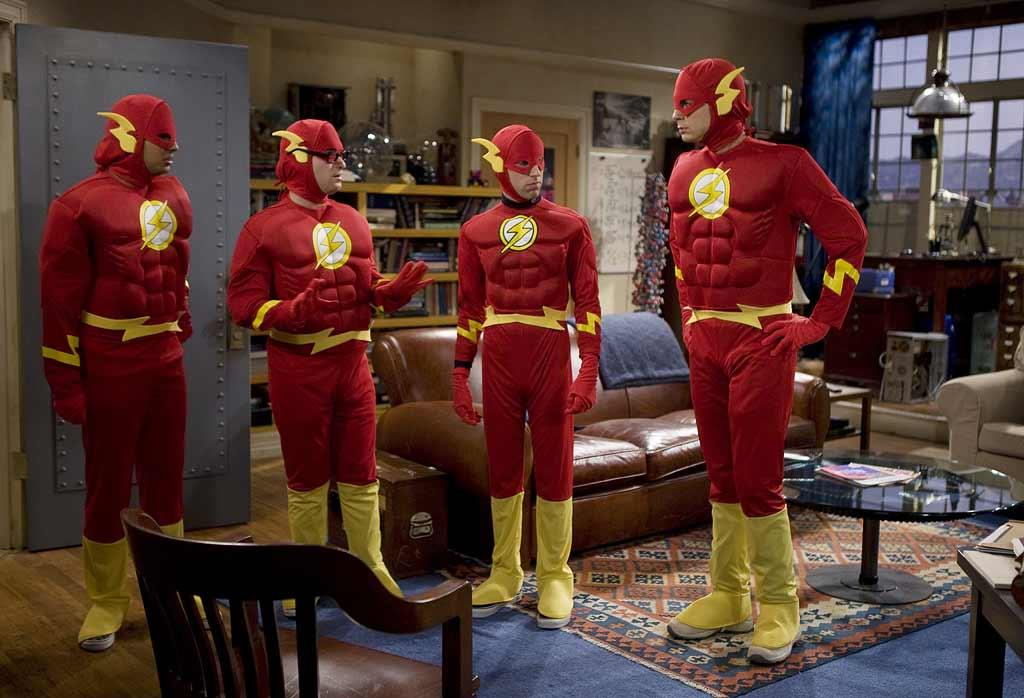 Leonard (Johnny Galecki, pictured second from left), Sheldon (Jim Parsons, pictured far right), Wolowitz (Simon Helberg, pictured second from right) and Koothrappali (Kunal Nayyar, pictured far left) undertake a challenging and dangerous experiment, attending the Halloween party being thrown by their hot neighbor, Penny (Kaley Cuoco, not pictured) on The Big Bang Theory.