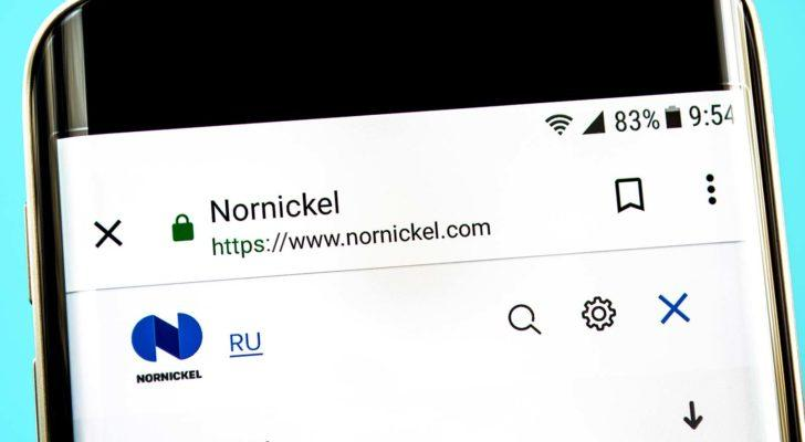 The website for Nornickel (NILSY) is displayed on a smartphone screen.