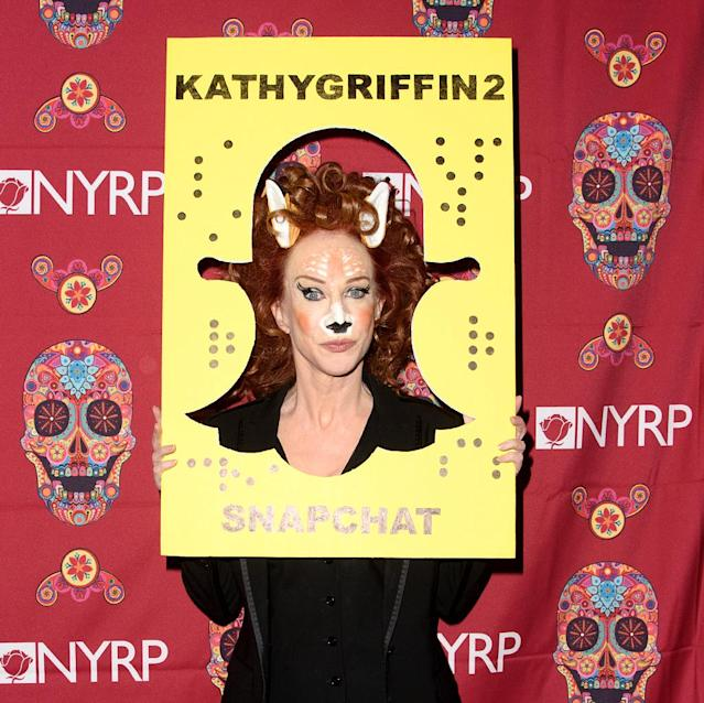 <p>The social media-savvy comedian arrived at Bette's bash wearing a Snapchat deer filter. How cute is Kathy? (Photo: Splash News) </p>