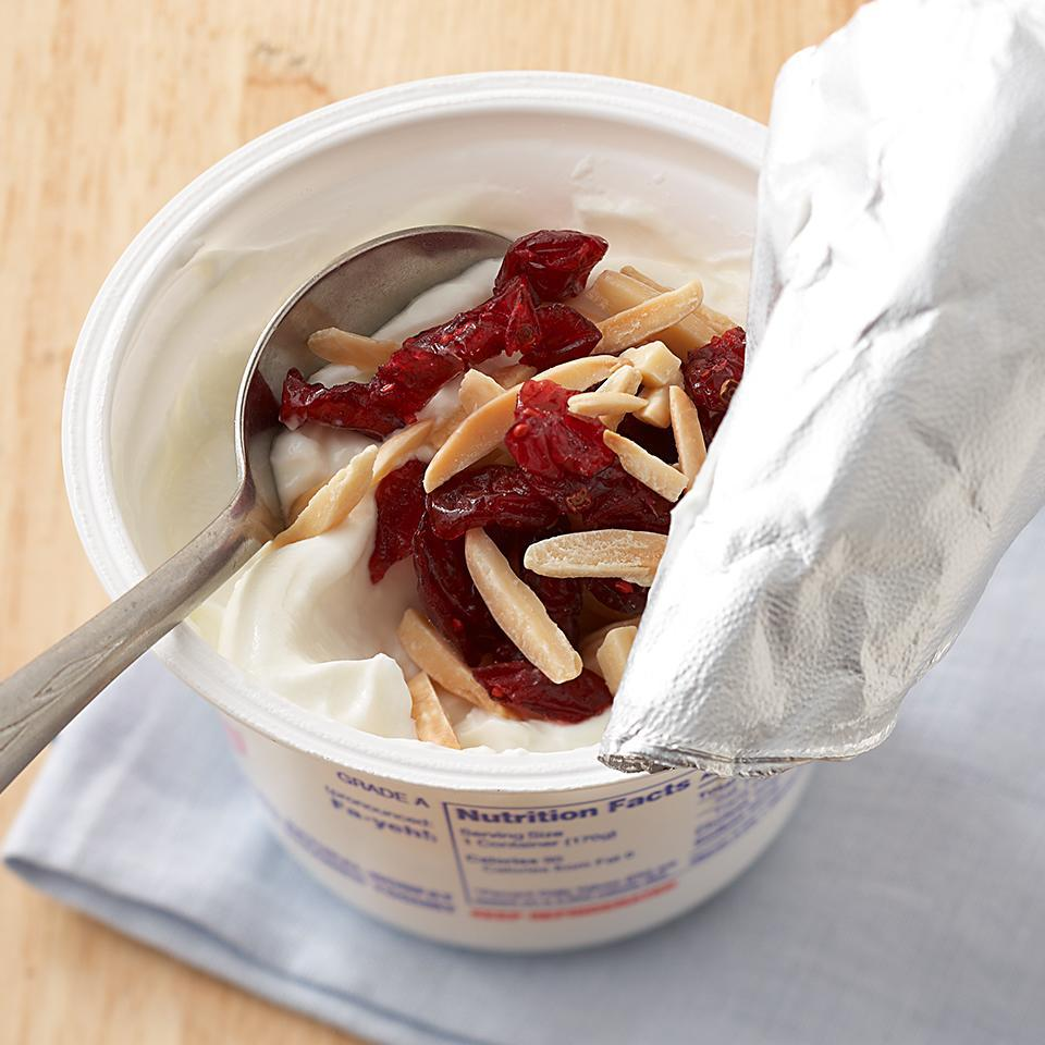 <p>Greek yogurt has more protein than regular yogurt and will keep you satisfied longer. The sweet cranberries in the topping will balance the tangy zip of the yogurt.</p>