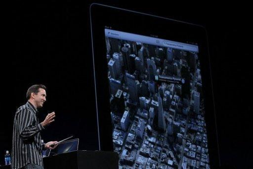 Apple Senior VP of iPhone Software Scott Forstall demonstrates the new map application in June 2012. The new map program was released this week as part of Apple's iOS 6 mobile operating software, which powers its new iPhone 5 released Friday and can be installed as an upgrade on other Apple devices