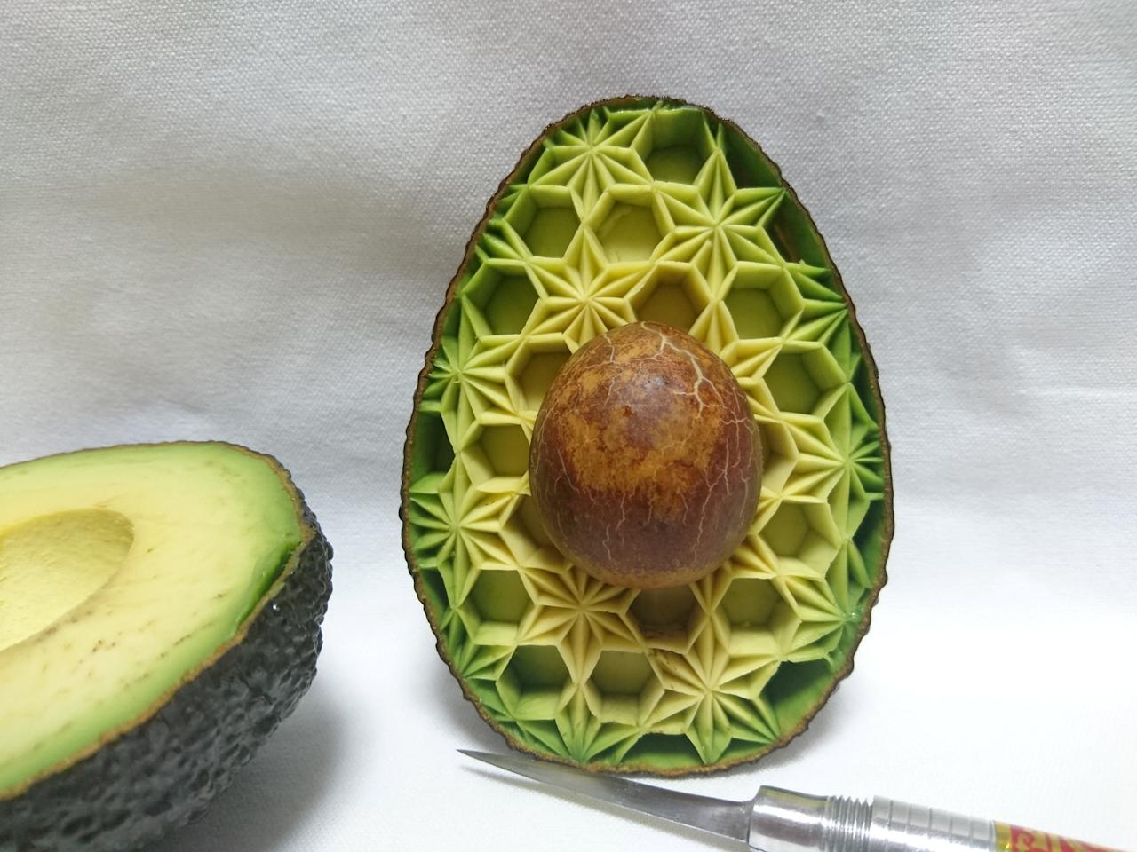 <p>This avocado has been transformed into a honeycomb inspired design. (SWNS) </p>