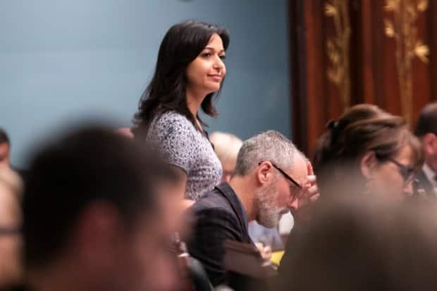 Ruba Ghazal, the Québec Solidaire environment critic and MNA for the Mercier electoral district says it's important for her to talk about the need for better representation of women and people of colour in Quebec politics. (Ivanoh Demers/Radio-Canada - image credit)