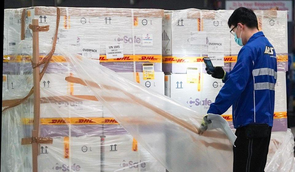 The first two batches of Pfizer-BioNTech Covid-19 vaccines arrive at Hong Kong International Airport. Photo: Felix Wong