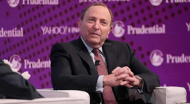 NHL commissioner Gary Bettman speaks onstage at Yahoo Finance All Markets Summit on October 25, 2017 in New York City.