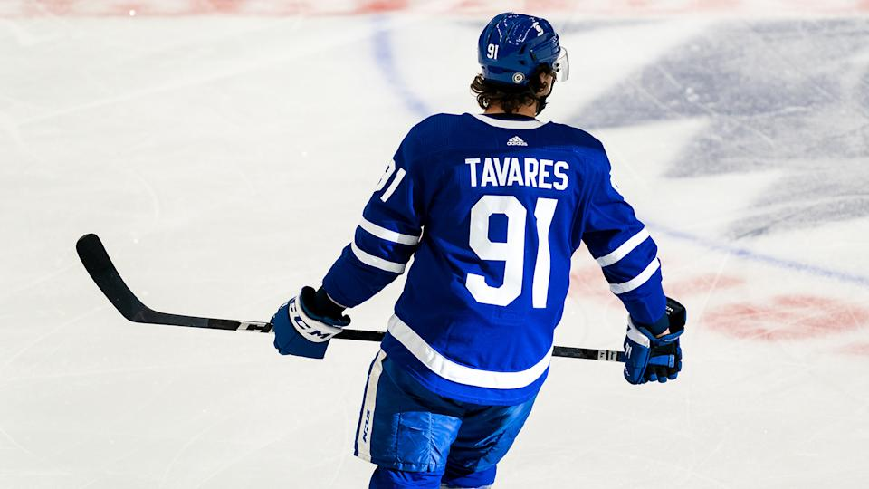 TORONTO, ON - MAY 6: John Tavares #91 of the Toronto Maple Leafs skates against the Montreal Canadiens during the first period at the Scotiabank Arena on May 6, 2021 in Toronto, Ontario, Canada. (Photo by Kevin Sousa/NHLI via Getty Images)