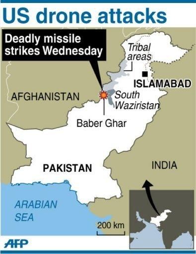 Map of Pakistan locating Baber Ghar, where US drones fired a salvo of missiles that killed at least 18 militants Wednesday