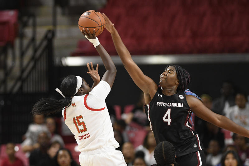 South Carolina forward Aliyah Boston (4) blocks a shot by Maryland guard Ashley Owusu (15) during the first half of an NCAA college basketball game, Sunday, Nov. 10, 2019, in College Park, Md. (AP Photo/Nick Wass)