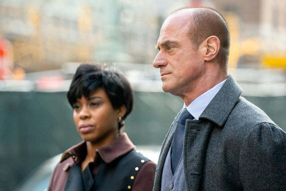 """Detective Elliot Stabler (Christopher Meloni), right, joins a New York Police Department organized crime task force that is headed by Sgt. Ayanna Bell (Danielle Mone Truitt) in NBC's """"Law & Order: Organized Crime."""""""