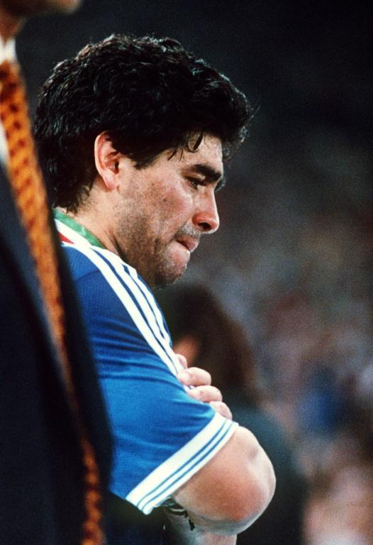 A disconsolate Maradona after Argentina's 1-0 defeat by West Germany in the 1990 World Cup final