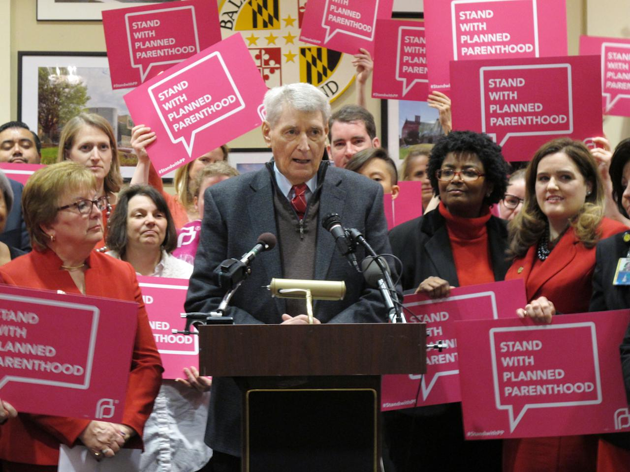 FILE - In this Wednesday, March 8, 2017, file photo, Maryland House Speaker Michael Busch speaks at a news conference in Annapolis, Md., in support of legislation to continue funding for services provided by Planned Parenthood. Democratic lawmakers in some states including Maryland are pressing ahead with efforts to protect birth control access, Planned Parenthood funding and abortion coverage in case they are jeopardized in the future. (AP Photo/Brian Witte, File)