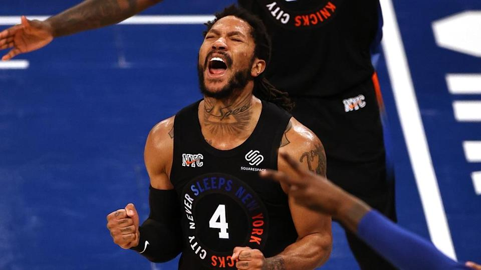 May 26, 2021; New York, New York, USA; New York Knicks guard Derrick Rose (4) reacts against the Atlanta Hawks during the second half of game two of the Eastern Conference quarterfinal at Madison Square Garden. Mandatory Credit: Elsa/POOL PHOTOS-USA TODAY Sports