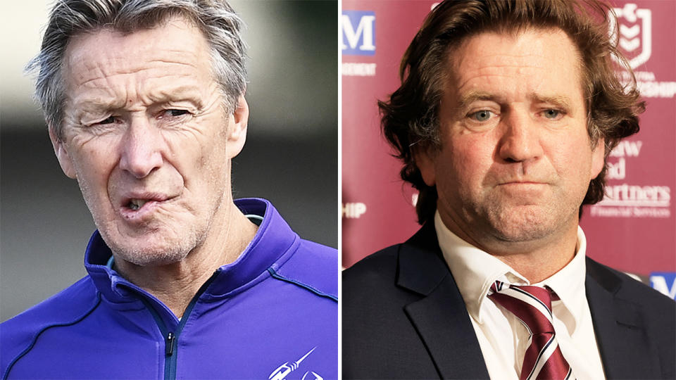 Craig Bellamy and Des Hasler, pictured here in their respective coaching roles.