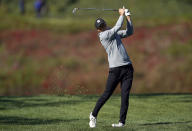 Jordan Spieth hits his second shot on the first hole during the third round of the Genesis Invitational golf tournament at Riviera Country Club, Saturday, Feb. 20, 2021, in the Pacific Palisades area of Los Angeles. (AP Photo/Ryan Kang)