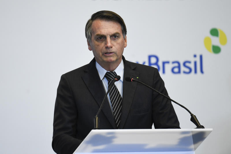 BEIJING, CHINA - OCTOBER 25: Brazil's President Jair Bolsonaro gives a speech during the Brazil-China Business Seminar in Beijing on October 25, 2019. (Photo by Madoka Ikegami-Pool via Getty Images)