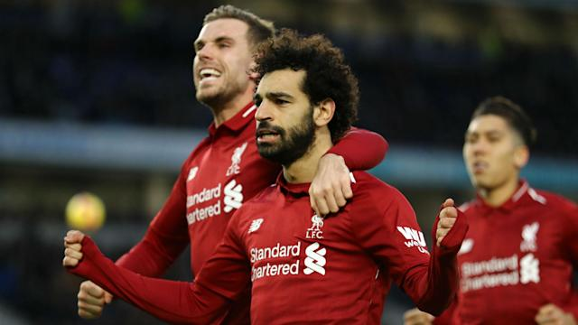 Liverpool bounced back from defeat to Manchester City as Mohamed Salah sunk Brighton to open up a seven-point lead at the top.