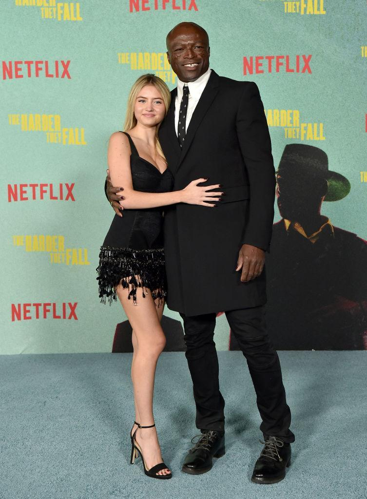 Leni Klum made a red carpet appearance with her father, Seal at the Los Angeles premiere of The Harder They Fall. (Getty Images)