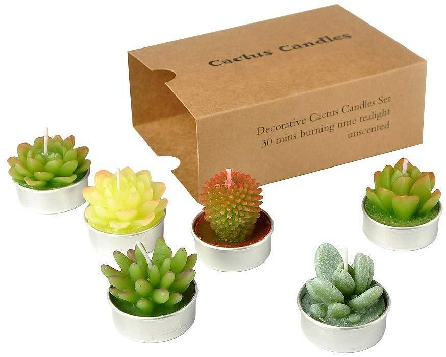 """Succulents and candles are an easy win, so why not get a little weird with a two for one. <br><br><strong>Sanseng</strong> SanSeng Cactus Tealight Candles,, $, available at <a href=""""https://www.amazon.com/SanSeng-Tealight-Handmade-Delicate-Succulent/dp/B07955PQDZ"""" rel=""""nofollow noopener"""" target=""""_blank"""" data-ylk=""""slk:Amazon"""" class=""""link rapid-noclick-resp"""">Amazon</a>"""