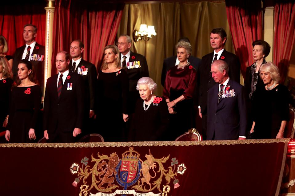 Queen Elizabeth II (C), with (L-R) Catherine, Duchess of Cambridge, Prince William, Duke of Cambridge, Prince Edward, Earl of Wessex, Sophie, Countess of Wessex, Birgitte, Duchess of Gloucester, Sir Tim Laurence, Prince Charles, Prince of Wales, Princess Anne, Princess Royal and Camilla, Duchess of Cornwall attend the annual Royal British Legion Festival of Remembrance at the Royal Albert Hall in London on November 9, 2019. (Photo by Chris Jackson / POOL / AFP) (Photo by CHRIS JACKSON/POOL/AFP via Getty Images)
