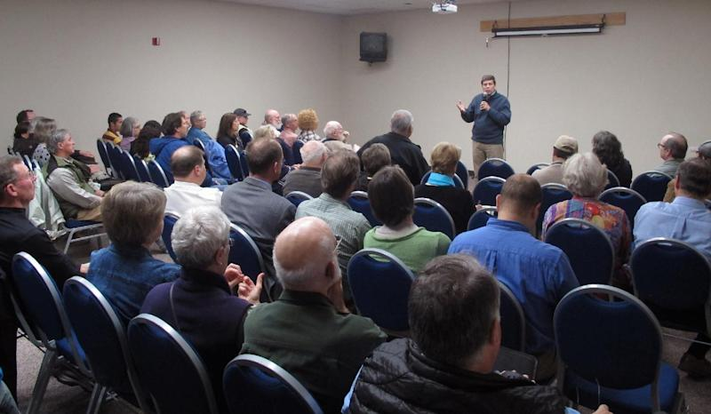 In this June 7, 2013 photo, Sen. Mark Begich, D-Alaska, speaks during a town hall meeting in Juneau, Alaska. Begich probably couldn't ask for a better start in his re-election campaign, with the state Republican Party emerging from a chaotic year and gearing up for a divisive primary as it hunts for a strong challenger to run against him. Even so, the freshman senator - who has a political pedigree, a wad of campaign cash and a reputation as a scrappy campaigner - brushes off the notion of anything short of a tough race even as he casts himself as a moderate in hopes of attracting voters from across the political spectrum. (AP Photo/Becky Bohrer)