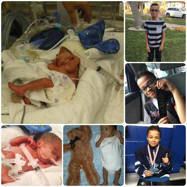 This is my son, Taylor. He was born at 27 weeks weighing 1 pound, 12 ounces. I was extremely sick with HELLP syndrome. We were taken care of in the NICU for four months (with lots of obstacles). He is thriving at 10 years old. We have been extremely lucky! <br><br>He's in the top of his class, he plays A1 hockey, takes part in running club and student council and is a wonderful big brother to his little sister. I hope this can help someone who currently has a micro preemie in the NICU. I felt so much comfort in seeing the photos and hearing the success stories of the babies graduating the NICU before Taylor.<br><br><i>-- Dayna</i>