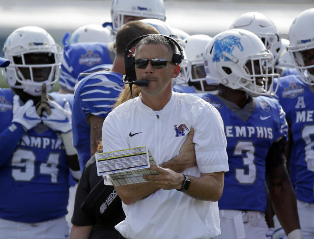 Memphis head coach Mike Norvell has an 18-7 record in two seasons with the Tigers. (AP Photo/John Raoux)