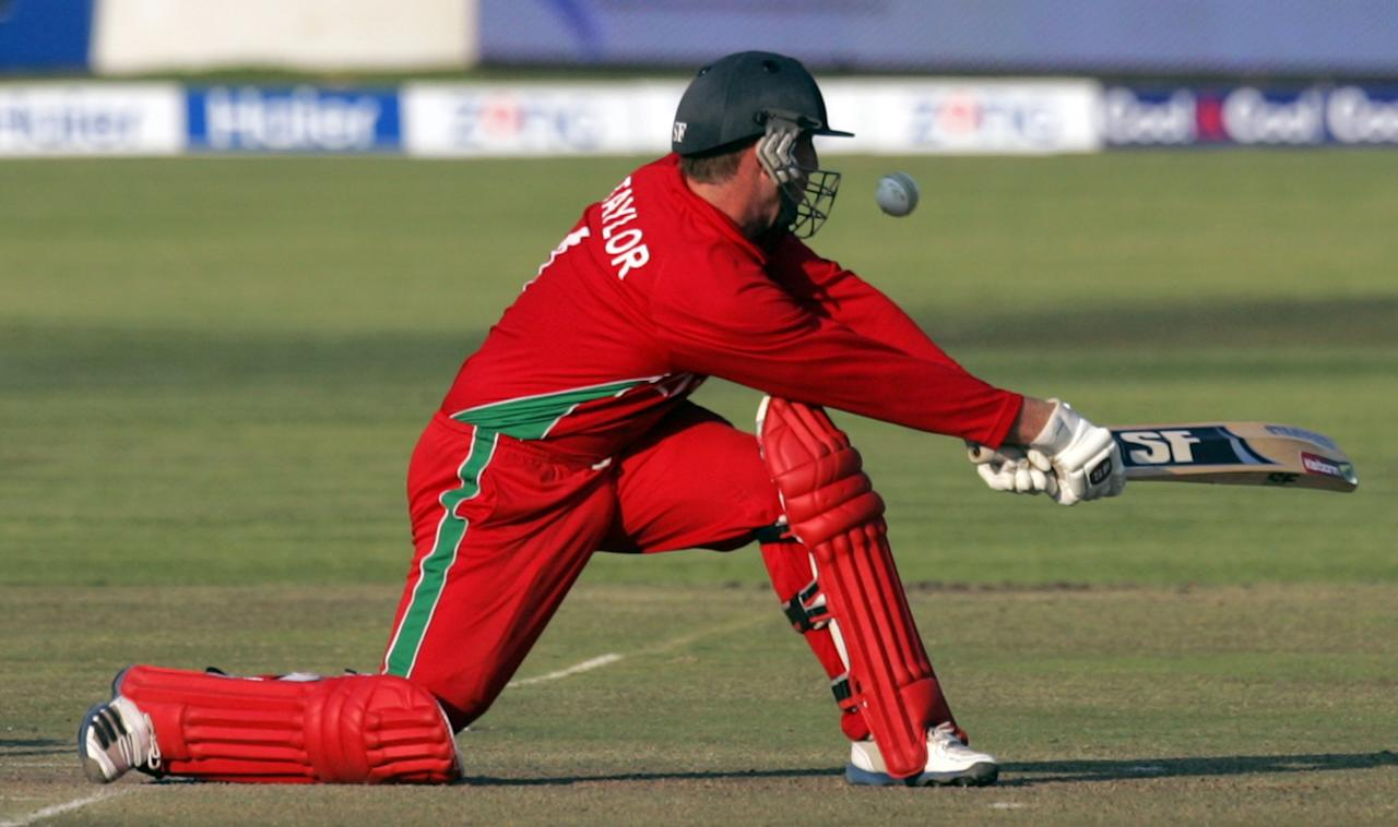 Zimbabwe captain Brendan Taylor bats during the 2nd game of the three match ODI cricket series between Pakistan and hosts Zimbabwe at the Harare Sports Club on August 29, 2013. AFP PHOTO / JEKESAI NJIKIZANA        (Photo credit should read JEKESAI NJIKIZANA/AFP/Getty Images)