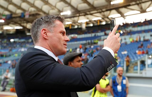 Soccer Football - Champions League Semi Final Second Leg - AS Roma v Liverpool - Stadio Olimpico, Rome, Italy - May 2, 2018 Jamie Carragher takes a photograph inside the stadium before the match Action Images via Reuters/John Sibley