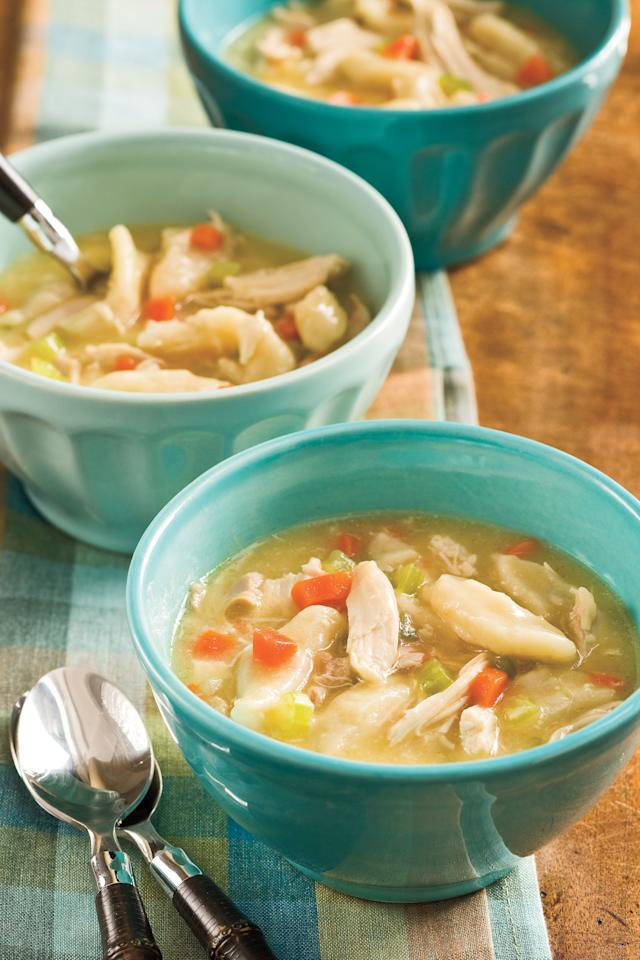 """<p><b>Recipe: <a href=""""https://www.southernliving.com/syndication/easy-chicken-dumplings"""">Easy Chicken and Dumplings</a></b></p> <p><b>Video: <a href=""""http://www.southernliving.com/food/entertaining/easy-chicken-dumplings-recipe-video"""" target=""""_blank"""">Easy Chicken and Dumplings</a> </b></p> <p>This <a href=""""http://www.southernliving.com/food/southern-comfort-food-recipes"""" target=""""_blank"""">favorite Southern comfort food</a> is always welcome on our dinner table.</p>"""