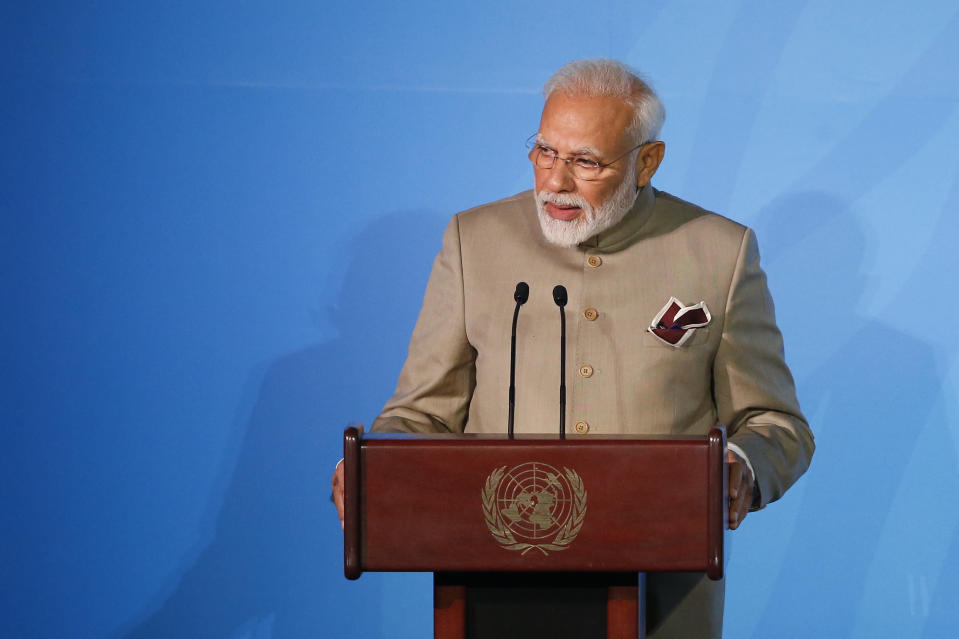 FILE - In this Sept. 23, 2019 file photo, India's Prime Minister Narendra Modi addresses the Climate Action Summit in the United Nations General Assembly, at U.N. headquarters. Pakistan's prime minister has responded to a recent peace overture from his Indian counterpart, writing in a letter to Narendra Modi that Islamabad also desires peaceful relations with New Delhi, officials said Tuesday, March 30, 2021. (AP Photo/Jason DeCrow, File)