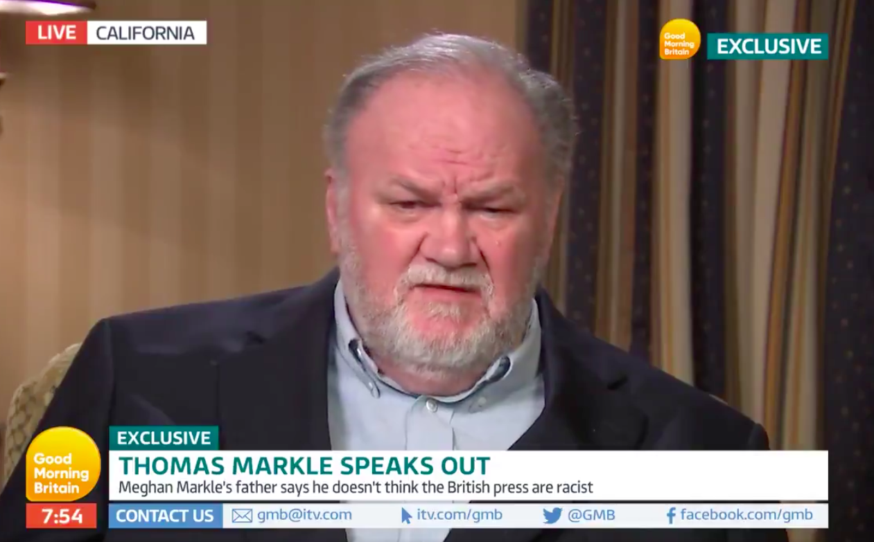 Thomas Markle gave an interview to Good Morning Britain (Picture: GMB/ITV)