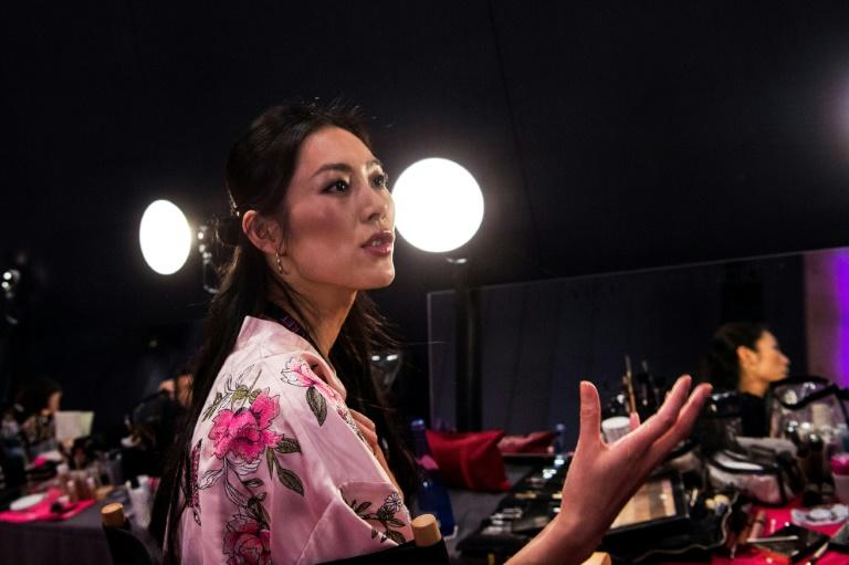 Liu Wen pictured backstage before the start of the Victoria's Secret show