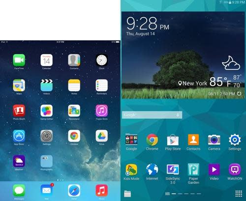 Samsung Galaxy Tab and iPad mini home screens
