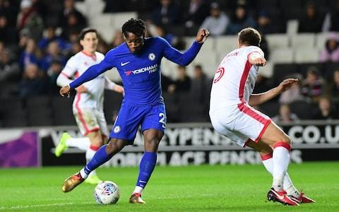 <span>Michy Batshuayi shapes to shoot against MK Dons</span> <span>Credit: Getty Images </span>